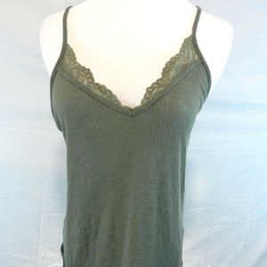 Express Women's Olive Green Top Spaghetti Strap